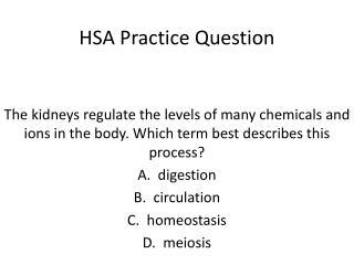HSA Practice Question