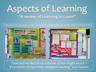 "Aspects of Learning ""A review of Learning to Learn"""