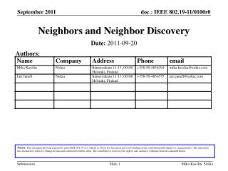 Neighbors and Neighbor Discovery