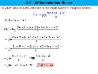 3.3 –Differentiation Rules