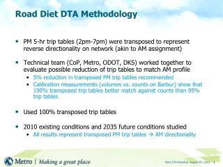 Road Diet DTA Methodology