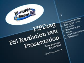 FIPDiag  PSI Radiation test  Presentation