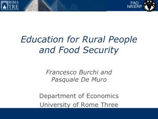 Education for Rural People and Food Security