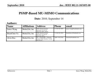PSMP-Based MU-MIMO Communications