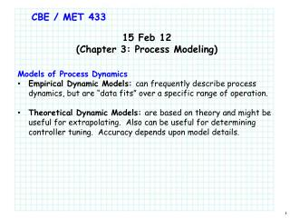 CBE  / MET 433