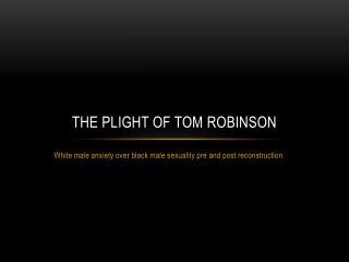 The Plight of tom  robinson