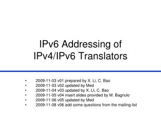 IPv6 Addressing of  IPv4/IPv6 Translators