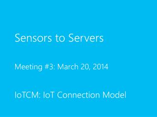Sensors to Servers