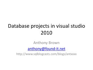 Database projects in visual studio 2010