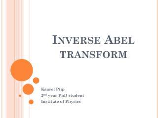 Inverse Abel transform