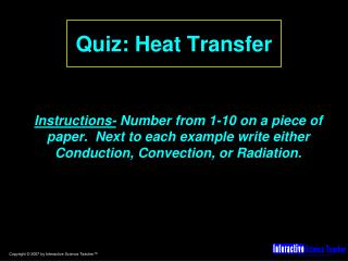 Quiz: Heat Transfer