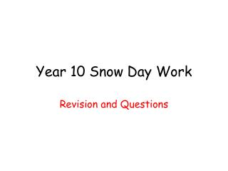 Year 10 Snow Day Work
