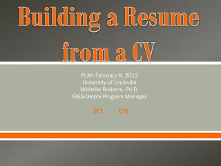 Building a Resume from a CV