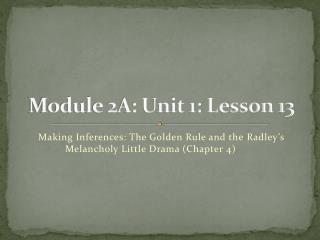 Module 2A: Unit 1: Lesson 13