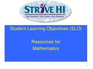 Student Learning Objectives (SLO) Resources for Mathematics