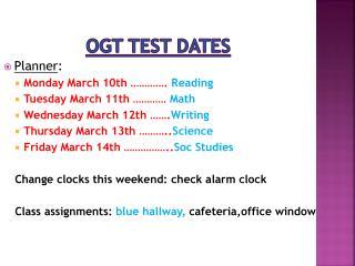 OGT test dates