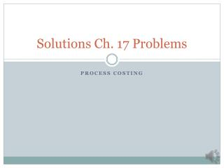 Solutions Ch. 17 Problems