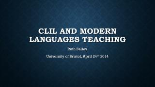 CLIL and modern languages teaching