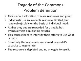 Tragedy of the Commons Problem definition