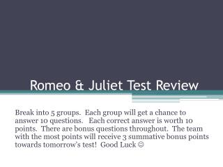 Romeo & Juliet Test Review