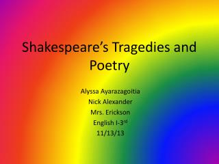 Shakespeare's Tragedies and Poetry