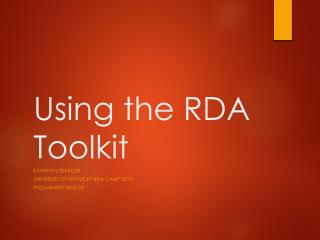 Using the RDA Toolkit