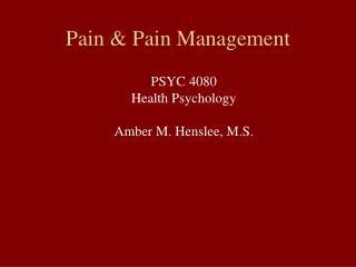 Pain  Pain Management
