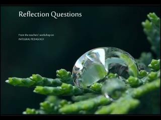 Reflection Questions From the teachers' workshop on INTEGRAL PEDAGOGY