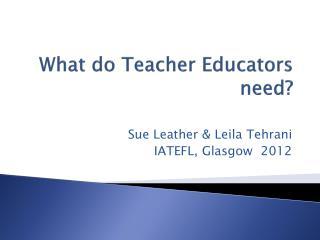 What do Teacher Educators  need?