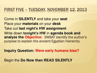 First Five – Tuesday, November 12, 2013