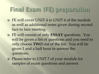 Final Exam (FE) preparation