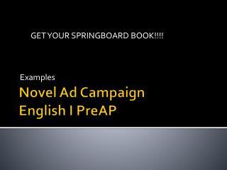 Novel Ad Campaign English I  PreAP