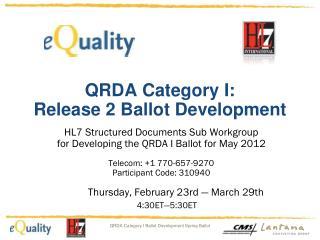QRDA Category  I: Release 2 Ballot Development