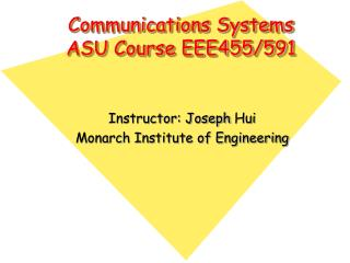 Communications Systems ASU Course EEE455/591
