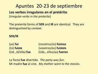 Apuntes 20-23 de  septiembre