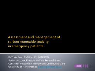 Assessment and management of carbon monoxide toxicity in emergency patients