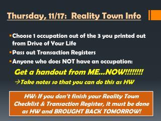 Thursday, 11/17:  Reality  Town  Info