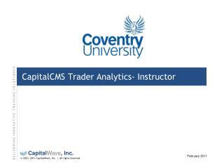 CapitalCMS Trader Analytics-  Instructor