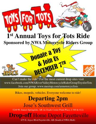 Bikes, mopeds, vehicles. Everyone welcome to ride! Departing 2pm Jose's Southwest Grill
