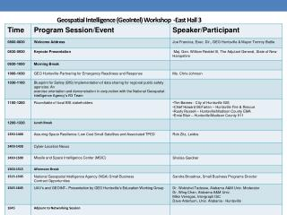 Geospatial Intelligence ( GeoIntel ) Workshop   -East Hall 3
