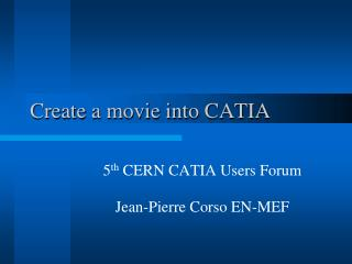 Create a movie into CATIA