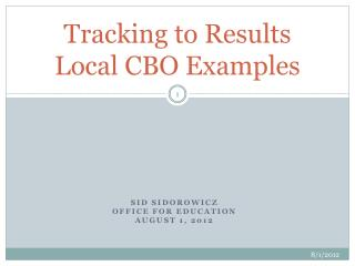 Tracking to Results Local CBO Examples