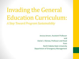 Invading the General Education Curriculum:  A Step Toward Program Sustainability