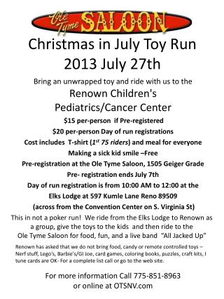 Christmas in July Toy Run 2013 July 27th