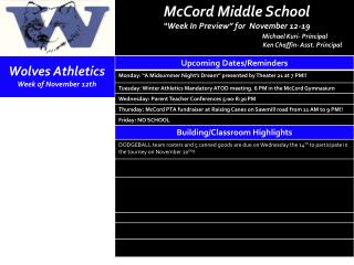Wolves Athletics  Week  of November 12th