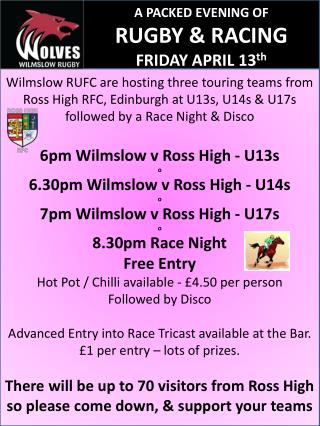 A PACKED EVENING OF  RUGBY & RACING FRIDAY APRIL 13 th