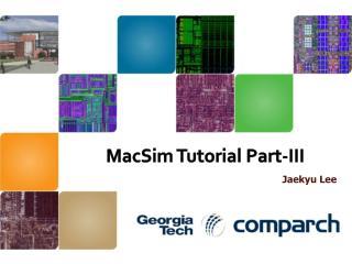 MacSim  Tutorial Part-III