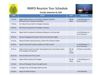 RMPO Reunion Tour Schedule
