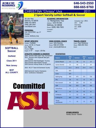 2 Sport Varsity Letter Softball & Soccer