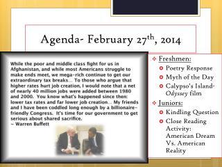 Agenda- February 27 th , 2014